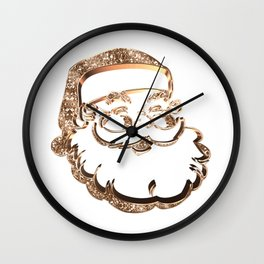 Santa Claus Funny Cute Father Christmas Elegant Faux Gold Wall Clock
