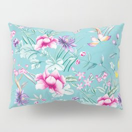 Pastel Teal Vintage Roses and Butterflies Pattern Pillow Sham