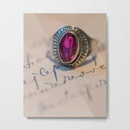 Silver ring with pink gem Metal Print
