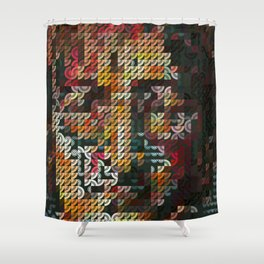 Hedgehog geometric pattern portrait of JohnLennon Shower Curtain