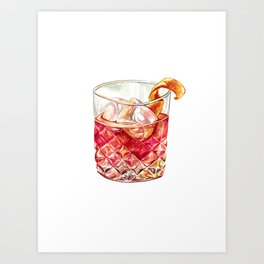 Old Fashioned Watercolor Art Print