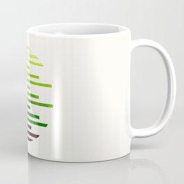 Mid Century Modern Minimalist Circle Round Photo Sap Green Staggered Stripe Pattern Coffee Mug