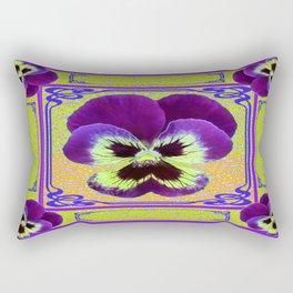 Pansy Purple-yellow Art Noveau Pattern Design Rectangular Pillow