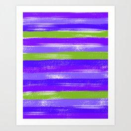 Purple and Green Modern Pastel Stripe Abstract Art Print