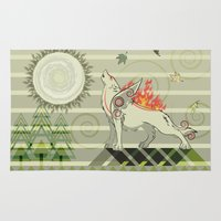 okami Area & Throw Rugs featuring A wolf on fire Amaterasu by milanova