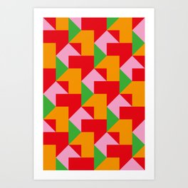 Green red Orange pink coloured mosaic with edges and squares and rectangular shapes and others Art Print