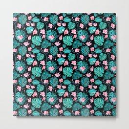 Tropical teal pink black vector floral pattern Metal Print