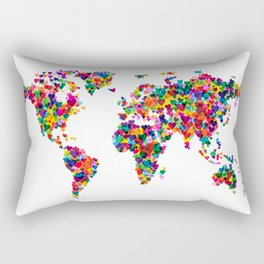 Love Hearts Map of the World Map Rectangular Pillow