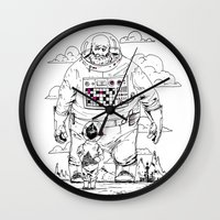 dad Wall Clocks featuring Space Dad by Michael Byers