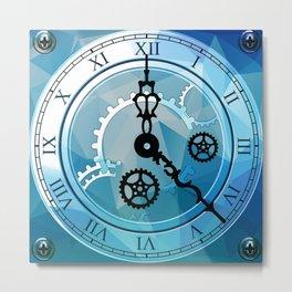 Blue Clock Metal Print
