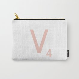Pink Scrabble Letter V - Scrabble Tile Art and Accessories Carry-All Pouch