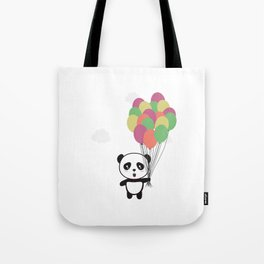 Panda with colorful balloons Tote Bag
