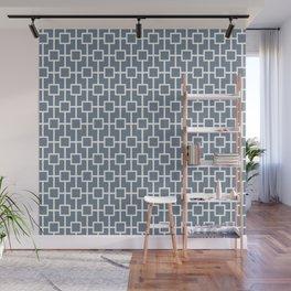 Slate Gray Lattice Pattern Design Wall Mural