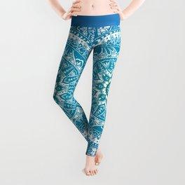 Aquamarine Mandala Pattern Leggings