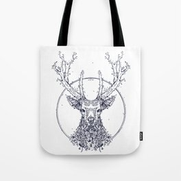 Flowers and Stag [Monochrome] Tote Bag
