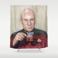 picard Shower Curtains featuring Captain Picard Earl Grey Tea | Star Trek Painting by Olechka