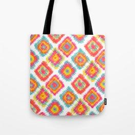 Modern boho hippie tie dye Ikat pattern pink orange yellow turquoise pattern Tote Bag