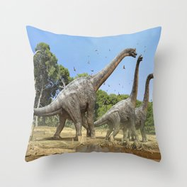 Dinosaurs walking on the river Throw Pillow