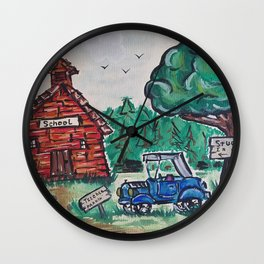 School, Primitive Art Painting by Faye Wall Clock