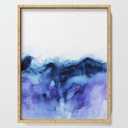 Abstract Indigo Purple Mountians Serving Tray