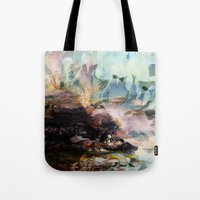 novelty Tote Bags featuring Morning Seashore Abstract by Moody Muse