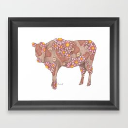 Chocolate and Strawberry Milk Cow Framed Art Print