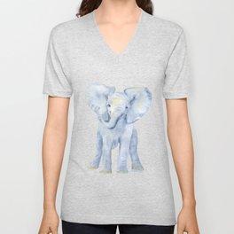 Baby Elephant Watercolor Unisex V-Neck