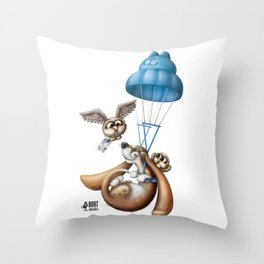 Flying basset Throw Pillow