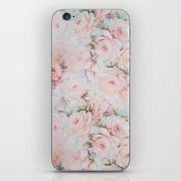 Vintage romantic blush pink teal bohemian roses floral iPhone Skin