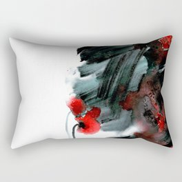 Original watercolor black and white painting with abstract red poppie flower. Handmade technique f Rectangular Pillow
