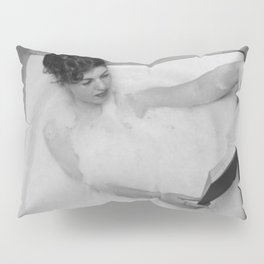 A Good Book and a Bath, female form black and white photography / photograph Pillow Sham