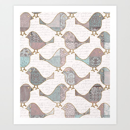 Vintage  Patchwork Birds handwriting pastel pattern Art Print