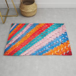 Chinese Lantern Bright Colours Repeat Pattern  Rug