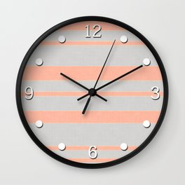 Coral and gray striped Wall Clock