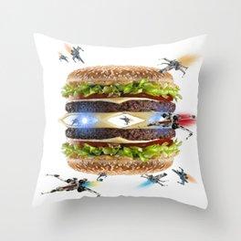 Hamburguesa la guerra Throw Pillow