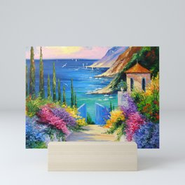 Sunny road to the sea Mini Art Print