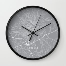 Lowell Map, Massachusetts USA - Pewter Wall Clock