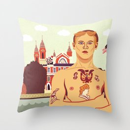 The Stowaway, Ellis Island Throw Pillow