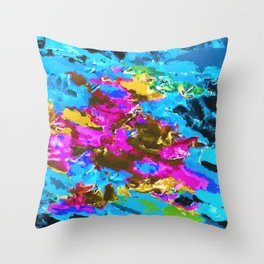 psychedelic splash painting abstract texture in blue pink yellow brown green Throw Pillow