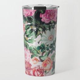 Vintage green pink lavender country floral Travel Mug