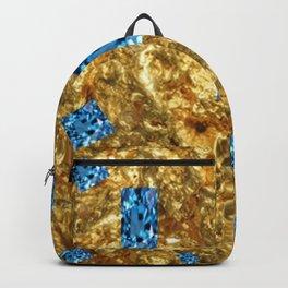 FACETED BLUE  TOPAZ GEMSTONES ON GOLD Backpack