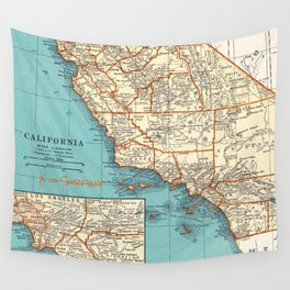 So Cal Surf Map Wall Tapestry