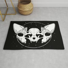 Sphynx Cat and Its Skull - dark art - black and white Rug