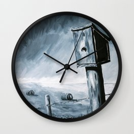 Little Birdhouse on the Prairie Wall Clock