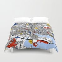baltimore Duvet Covers featuring Baltimore Mondrian by Mondrian Maps