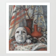 """""""Still life with the mask in grey and terracotta tones"""", soft pastels, life drawing Art Print"""
