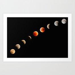 Blood Moon Lunar Eclipse Progression of July 2018 Art Print