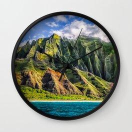 Na' Pali Spires, Kauai, Hawaii Wall Clock