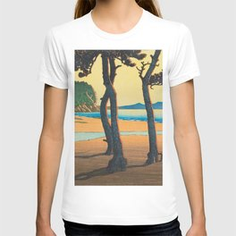 Kawase Hasui Vintage Japanese Woodblock Print Kazusa Beach in Hizen Province T-shirt