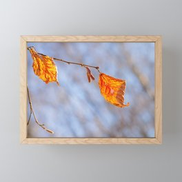 Hazelnut Leaves In The Winter Wind Framed Mini Art Print